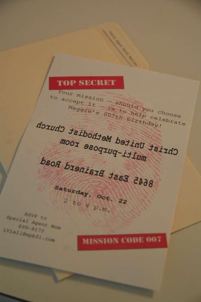 Spy, Detective Birthday Party Ideas | Photo 1 of 29 | Catch My Party--I love the Spy Names idea...