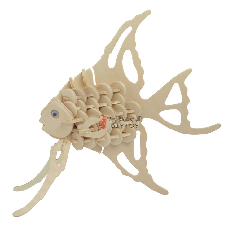 Angelfish----Woodcraft Construction Kit Kid Wooden Building Puzzle Model Game
