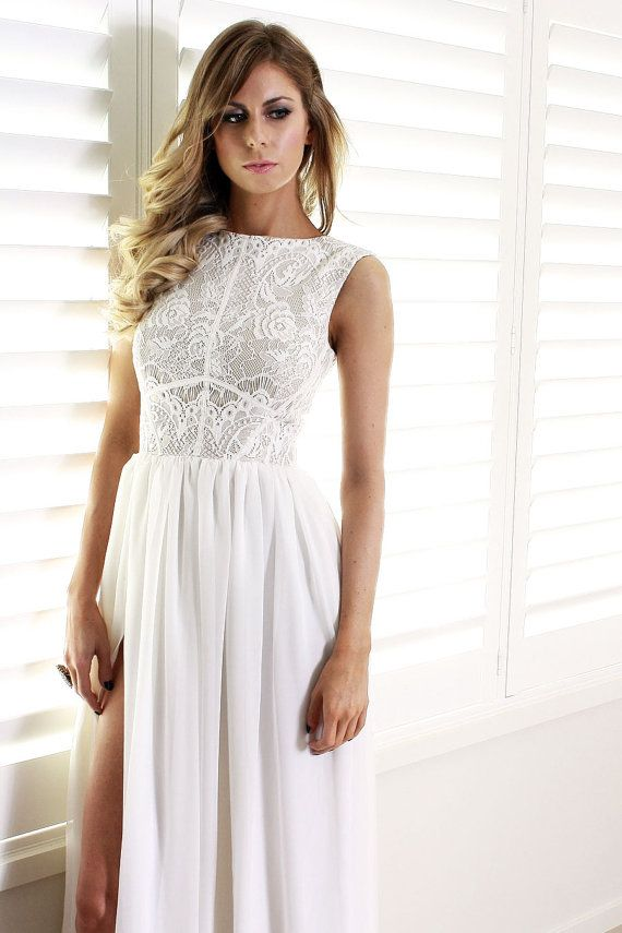 Ava white lace and silk dress by daysofglamour on Etsy, $760.00