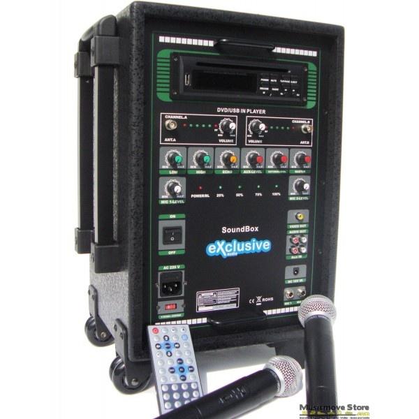 Soundbox USB   Près de 400 exemplaires vendus en 2012 ! 1 lecteur DVD/CD/MP3 et lecteur de clé USB. Puissance de 80 watts RMS. 2 micro sans fils VHF main   http://www.musicmove-store.com/sono-portable-sonorisation-portable/709-soundbox-usb.html