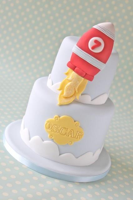 Rocket ship baby cake
