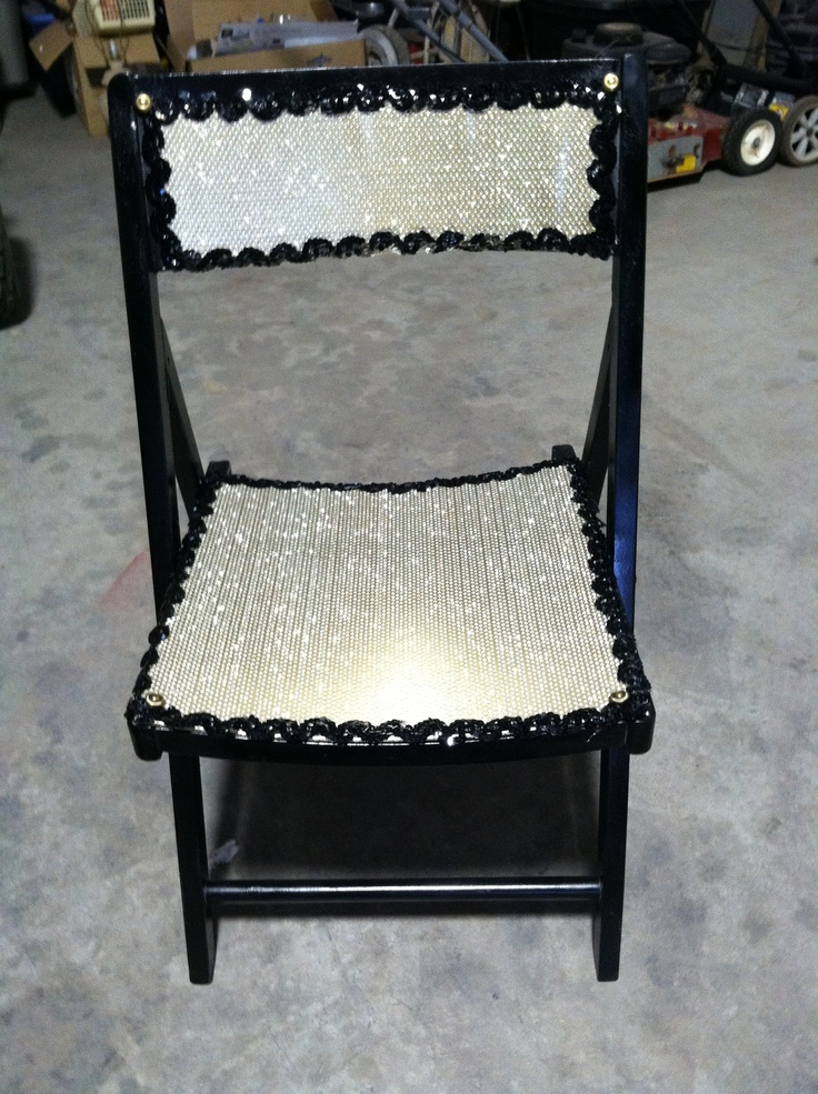 upcycled wood folding chair painted black added gold covers and black sequin trim w antique