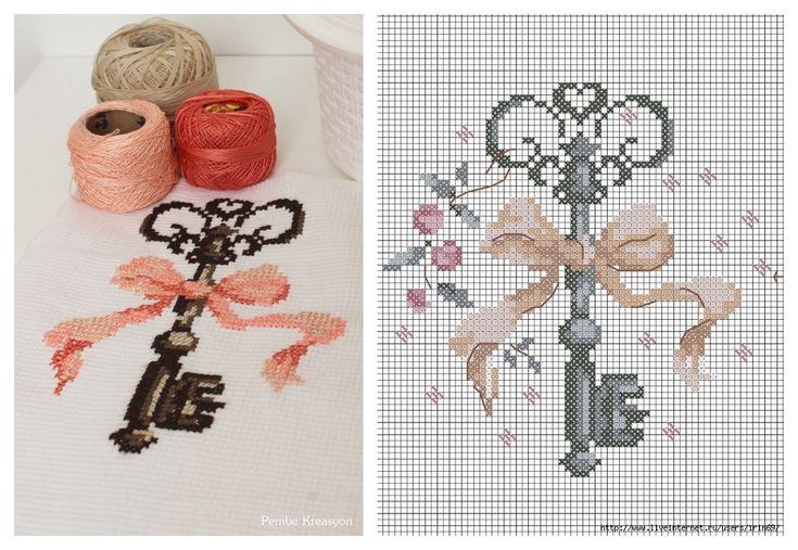 Pembe Kreasyon: KANEVİÇE DİLEK ANAHTARI,Dean key cross stitch pattern