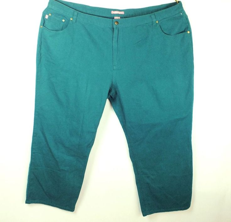 Woman Within New Teal Plus Size Jeans Straight Leg 100% Cotton