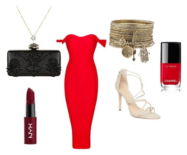 rectangle party by satwalhimani on Polyvore featuring Schutz, Alexander McQueen, NYX and Chanel