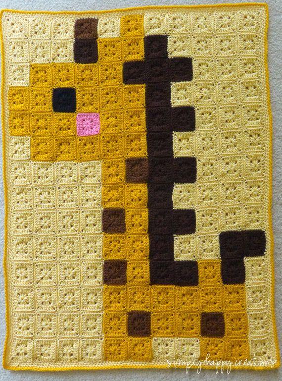 MADE to ORDER--Crochet 8-Bit Pixel Art Baby Blanket--Baby Giraffe