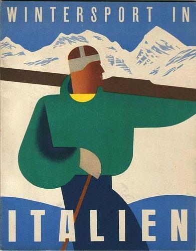 Italian vintage ski poster - 1937 - Mario Puppo