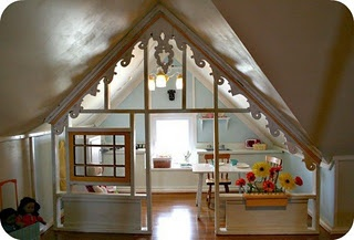 perfect use of attic space with slanted roof.  Kids would love this!