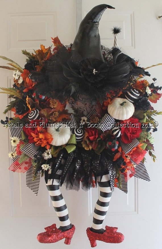 """Halloween Wreath -Wicked Witch w/ Ruby Red Slippers -  """"Halloween Hat n' Boots Collection©"""""""