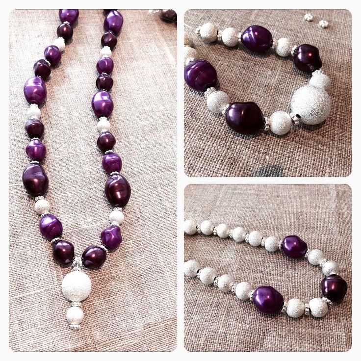 Halsband, armband, fotlänk med vaxade jablonexpärlor, star dust pärlor, daisy mellandelar! Jiska Design