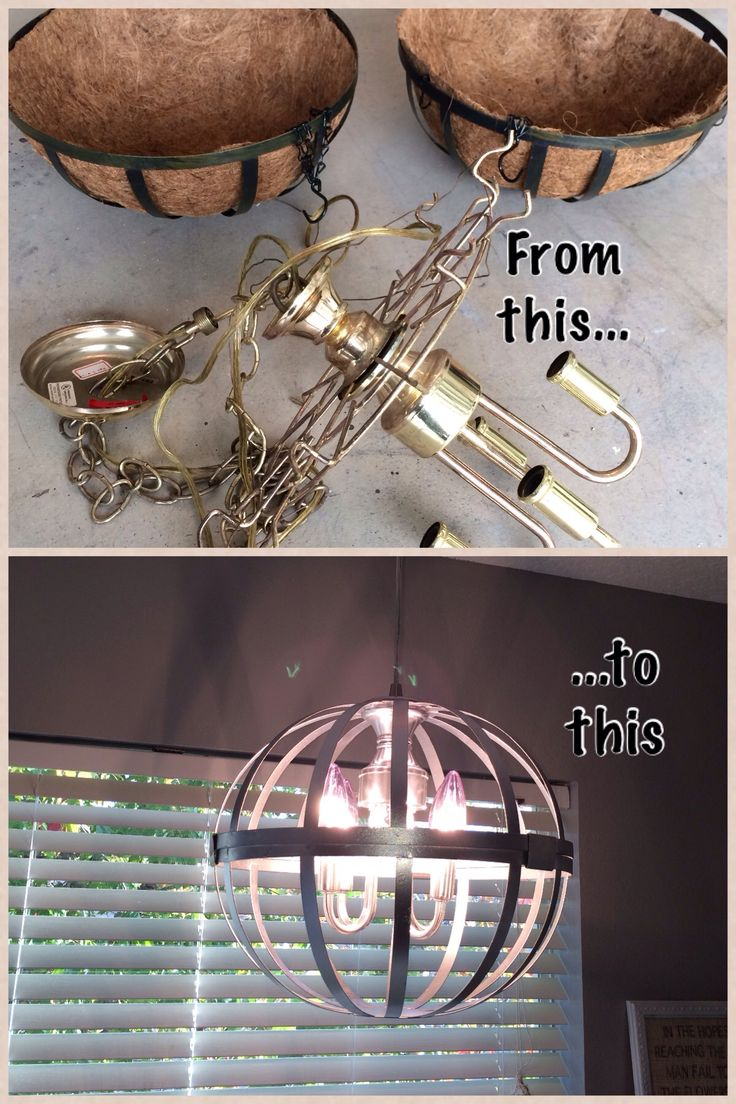 Hanging wire baskets/brass chandelier fixture/silver metallic spray paint = homemade chandelier