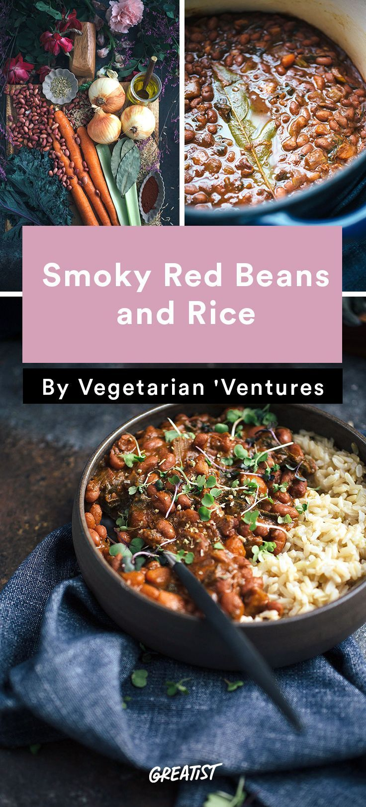 """Vegetarian Ventures roundup: Smoky Red Beans and Rice FROM """"7 Meat-Free Dinners You Need to Try Even If You're Not Vegetarian"""" 
