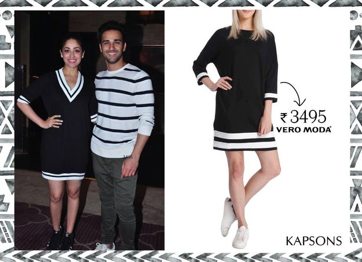 The black and white dame... Shop for the similar style from Kapsons store or online at http://bit.ly/22tqCqD #Kapsons #YamiGautam #PulkitSamrat #CelebStyle