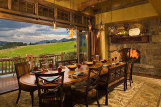 Bridger Canyon Residence - rustic - dining room - other metro - by Locati Architects