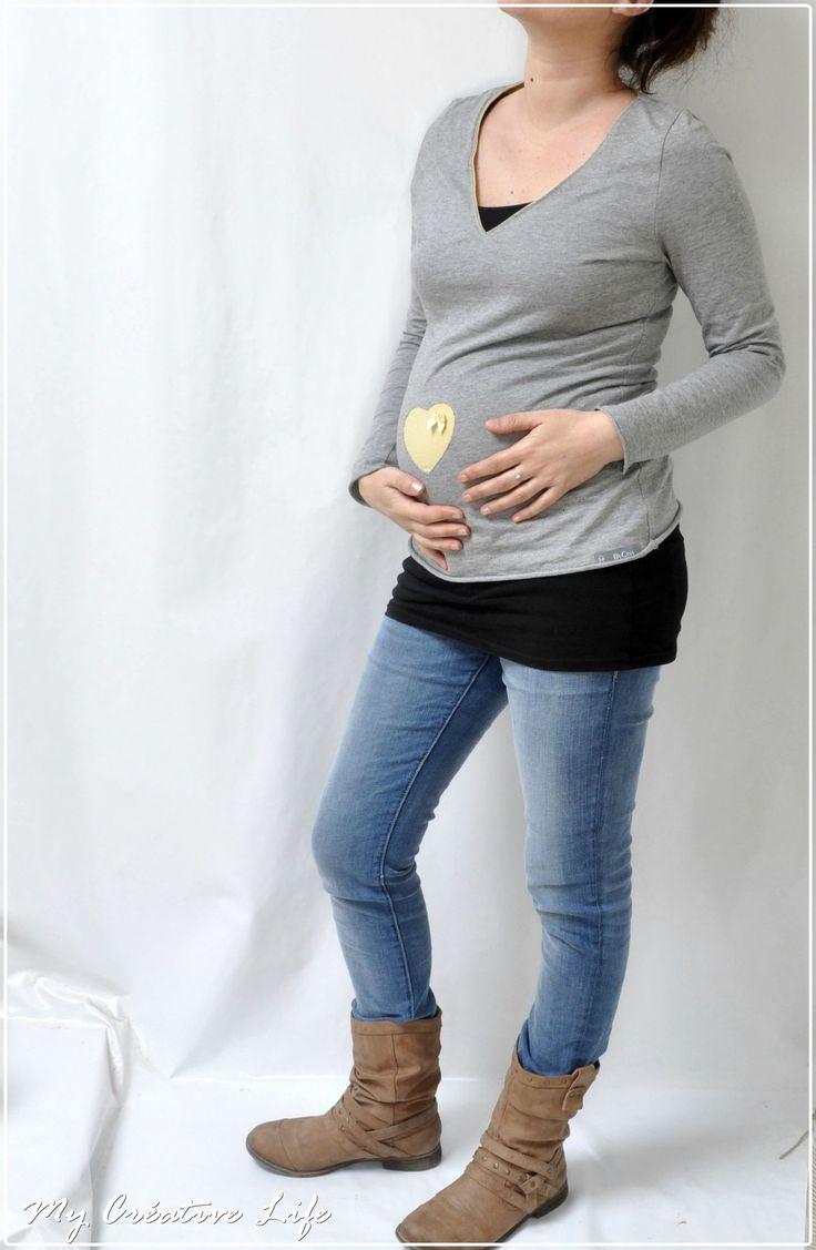 tee-shirt coeur en appliqué inversé ( maternité)