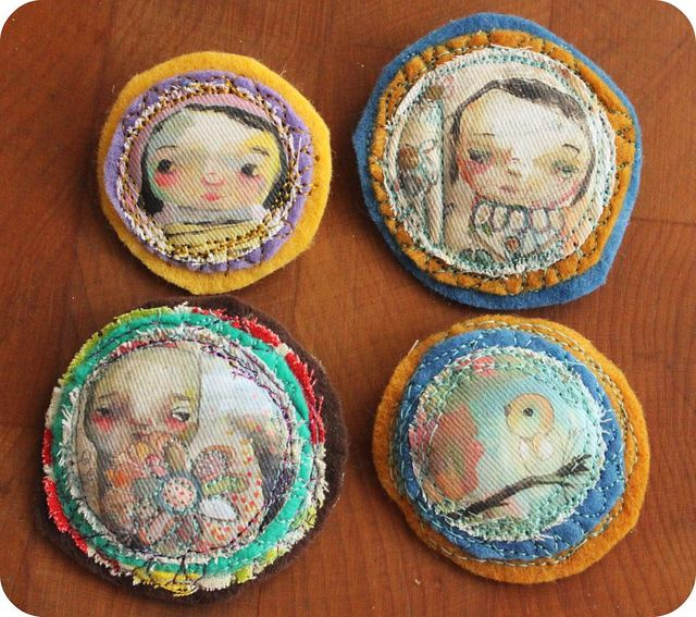 stitched brooches by timssally, via Flickr