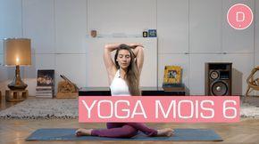 Cette séance de Yoga dédiée au 6 ème mois de grossesse vous propose de vous étirer ! Avec Delphine Bourdet, professeur de yoga, vous allez libérer vos tensions musculaires et étirer vos muscles autour du bassin et du bas du dos. Attention à ne pas pousser les étirements trop loin. Vous êtes souple grâce à la relaxine, une hormone secrétée par le placenta vers la 12e semaine de la grossesse et qui tend à assouplir les articulations et à relâcher les ligaments pour préparer le corps à…