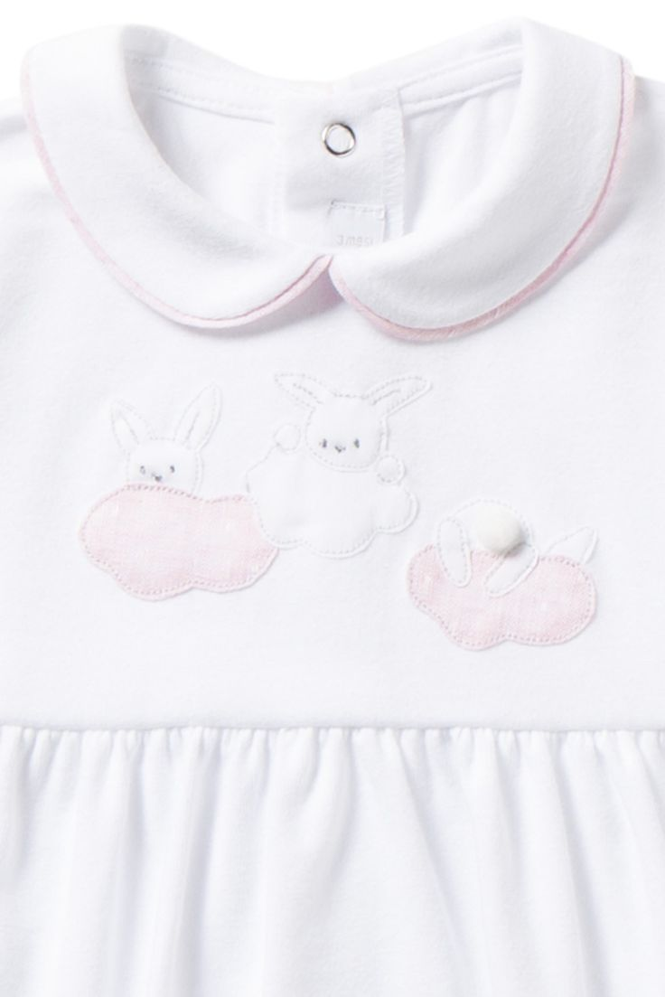 Italian Luxury WHITE JERSEY PLAYSUIT WITH FEET AND PINK INSERTS   Il Gufo
