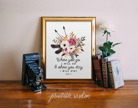 Dove andrai io andrò, arte Bibbia versetto stampabile, stampabile saggezza wall art decorazione, Ruth 01.16, arte tipografica stampa piume di frecce