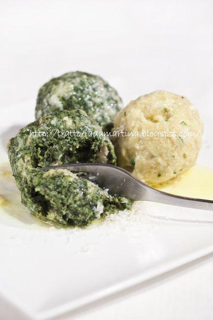 Canederli al formaggio e canederli agli spinaci!!