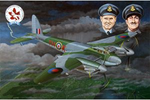 De Havilland Mosquito HX 811 – Bram de Jong made the painting in memory of the crew; pilot Warren Robert Zeller, RCAF, age 25, and navigator Reginald Tribbeck, RAF, age 28. They crashed with their airplane during a night mission to Vechta, Germany, in Limmen, NL on 8 September 1944. The Mosquito was probably hit by lightning. Painting by Bram de Jong: oil paint on linen, size 80 x 120 cm, agdj'15Copyright. www.agdj.nl