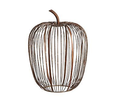 Beaded Wire Pumpkin Hurricane - Weathered Metal, Large