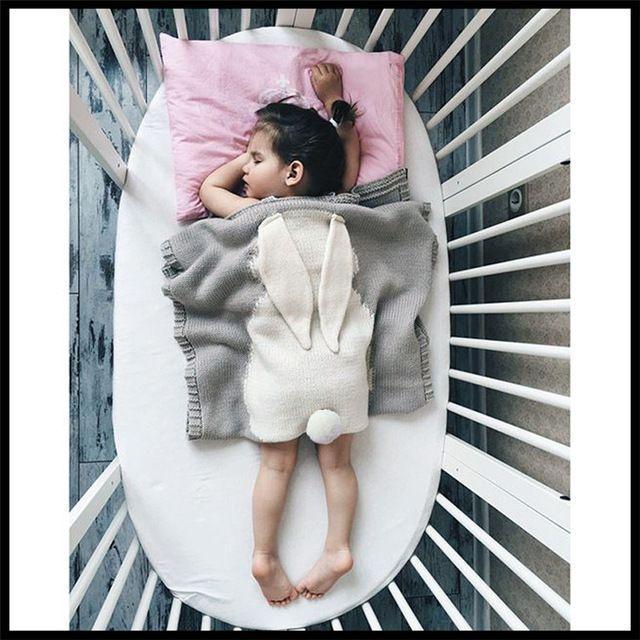 Manta de bebé de Color Rosa Gris Amarillo Azul Lindo Conejo Gris Para La Cama sofá manta De Lana Mantas Colcha Cobertores Toallas de Baño Alfombra de Juego G