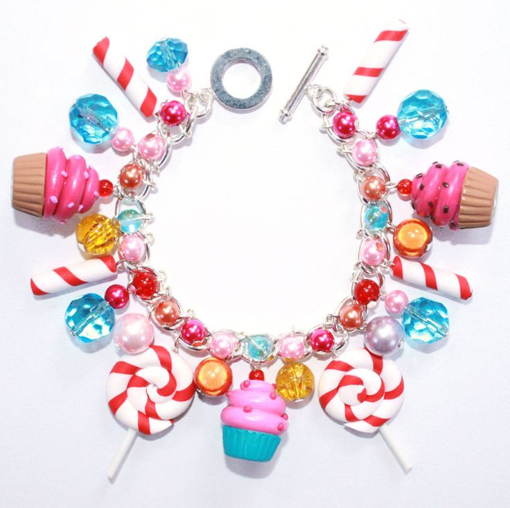 Image of KATY PERRY COSTUME CUPCAKE LOLLIPOP SWEETS CANDY CHARM BRACELET