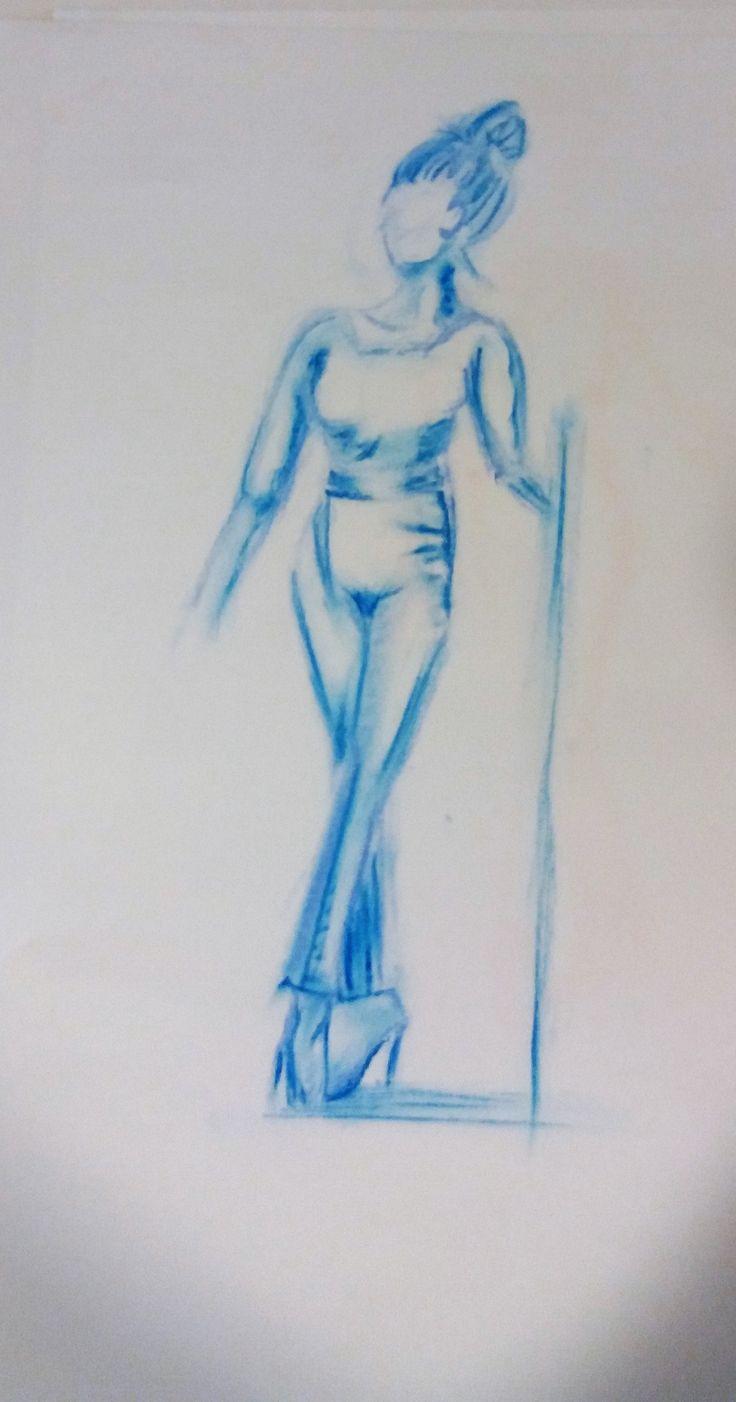 Model met pastelkrijt