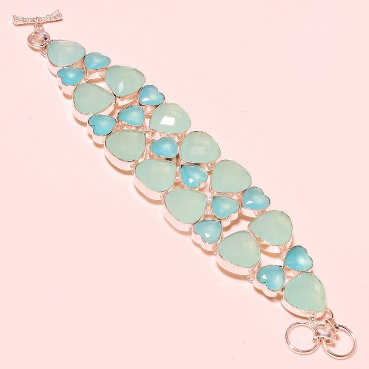 """Blue Chalcedony Faceted Charming Look .925 Silver Jewelry Bracelet 7 To 9"""" #Handmade #braceletwomen #heartfeltcreations #creativity #tuesdaymotivation #lovemore #native #americangirldoll #giftsforher #unique #shoppingtime"""