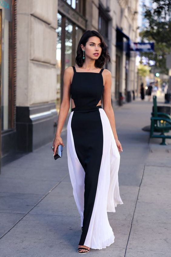Long white and black dress - vestido preto e branco longo