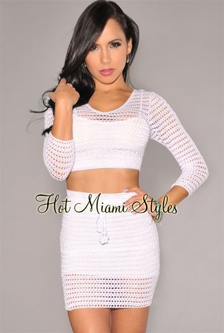 White Crochet Two Piece Set.