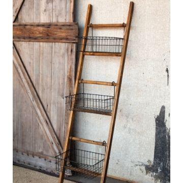 Ladder with Wire Baskets