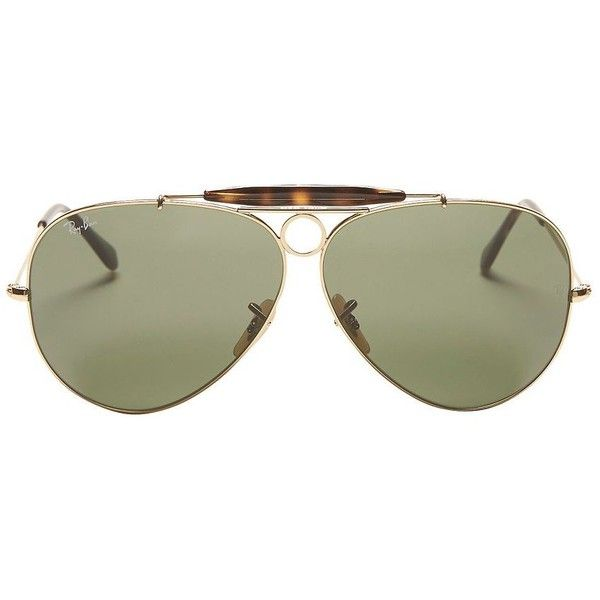 Ray-Ban Classic Brow Bar Aviator Sunglasses: Green found on Polyvore featuring accessories, eyewear, sunglasses, glasses, extra, green aviator sunglasses, ray ban sunnies, aviator sunglasses, ray ban eyewear and green aviators