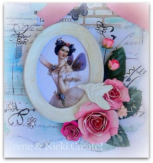 Fairy Ballerina in wooden frame- Mixed Media Chipboard- Handmade roses and air dry clay bird.http://ireneandnickicreate.blogspot.gr/2014/07/vintage-fairy-wall-hanging-nicki-create.html
