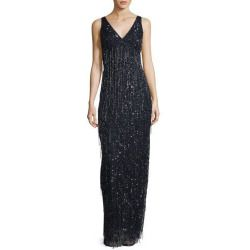 New offer for Aidan Mattox V-Neck Fringe-Beaded Gown Navy fashion online. [$475 ]?@@>>sladress shop<<