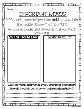 Nonfiction Conventions Reading Response Sheets | Reading response ...