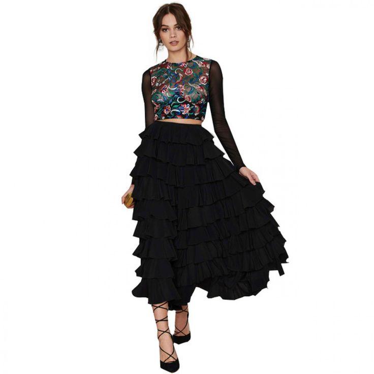 Fashion Women Casual Black Sexy Ball Gown High Waist Ruffle Vintage Elegant Ankle-Length  Skirt