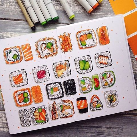 Any #sushilovers out there?  #sketch #sketchbook #Leuchtturm1917es #sushi #drawing