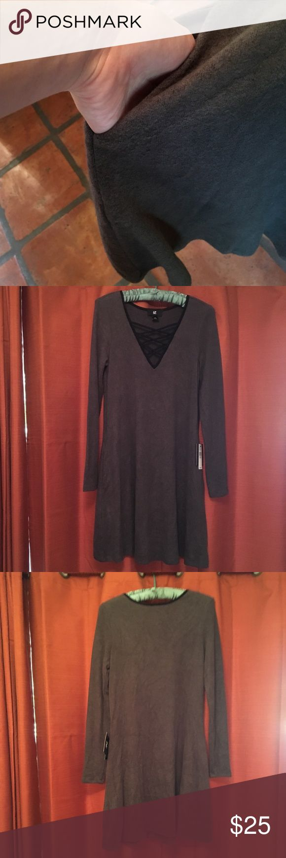 Grey long sleeve dress Grey long sleeve dress with black lace up v neck. Fleece like material, very soft, warm and comfortable. Has pockets too. Tag says olive color but It looks more grey to me. Brand new with tags. Iz Byer Dresses Long Sleeve