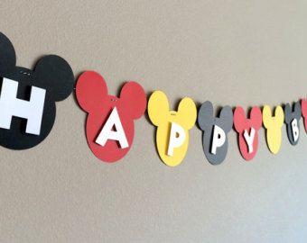 Banner cumpleaños de Mickey Mouse partido/Mickey por BellesBanners