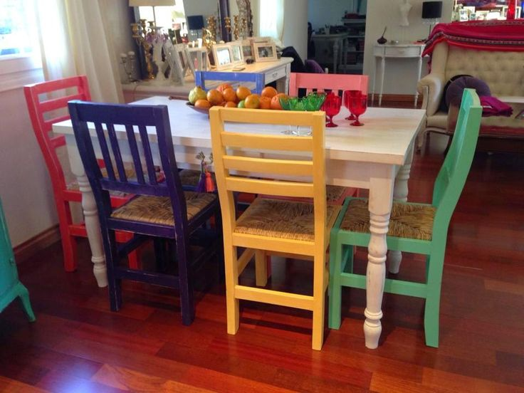 M s de 25 ideas fant sticas sobre sillas pintadas en for Comedor con sillas de colores