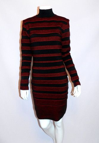 vintage 1980s dress Thierry Mugler by Alaia Bandage wool Body Con knit – Retro Trend Vintage
