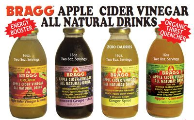 Homemade Bragg's Drinks! ... Get your daily dose of Apple Cider Vinegar.   Start with 8oz water, 1-2 Tbsp Bragg's Apple Cider Vinegar, and then create a flavor:  CRANBERRY - 1 Tbsp pure Cranberry Juice  4 drops Stevia  HONEY -  1 Tbsp Honey  APPLE CINNAMON - 4 oz Apple Juice (sub for 4 oz water) 1 tsp Cinnamon 1-4 drops Stevia GINGER - 1 drop ginger doTERRA oil, 4-8 drops stevia