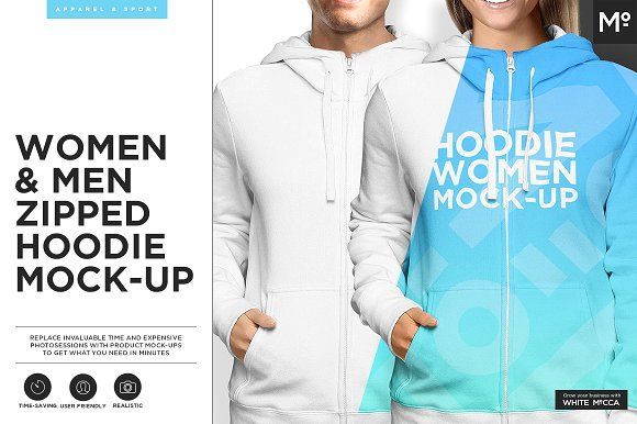 Women & Men Zipped Hoodie Mock-up by Mocca2Go/mesmeriseme on @creativemarket