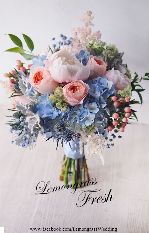 Gorgeous Pastel Pink And Serenity Blue Bridal Flowers