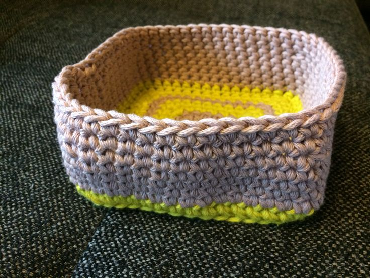 Croche a small basket. Used some scrap yarn