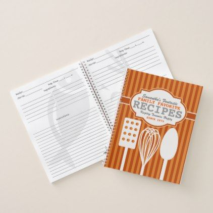 Trendy Retro Recipes Personalized Notebook - retro gifts style cyo diy special idea