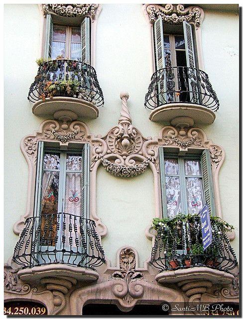 Small balconies  Barcelona (Spain).