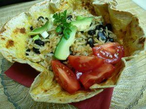 Fekete bab rizzsel, tortilla kehelyben recept